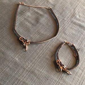 Jewelry - Matching zipper choker and bracelet